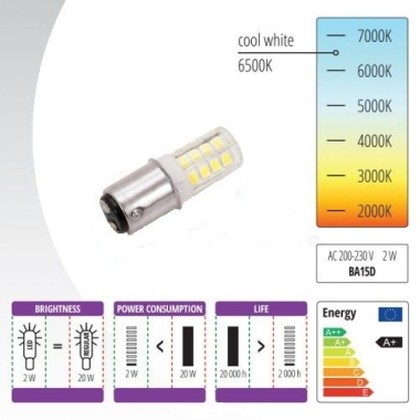 Žiarovka LED 220 V, 2 W so závitom