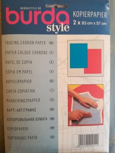 kopírovací papier: modrý/ červený (na svetlé látky)